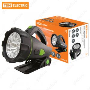"""Фонарь """"Прожектор"""", аккумуляторный, подставка, 6 Вт галогенная лампа, 9 светодиодов 80 лм/Вт TDM"""