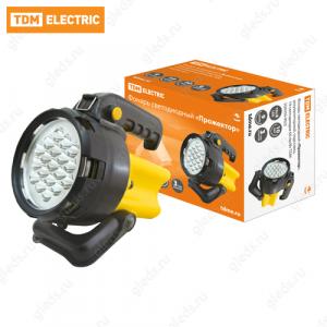 """Фонарь светодиодный """"Прожектор"""", аккумуляторный, подставка, 19 светодиодов 60 лм/Вт TDM"""