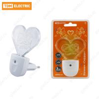 """Ночник """"Сердце"""" с датчиком света,светодиодный, 0.3 Вт 220 В TDM"""