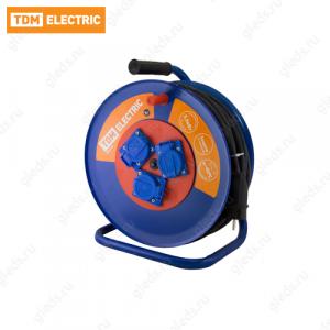 Удлинитель силовой УХз16-003 TDM (метал. катушка,АЗ,3 места IP44/50м КГ 3х1,5)