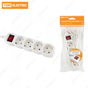Удлинитель бытовой У04В выключатель, 4 гнезда, 1,5метра, с заземлением, ПВС 3х1мм2 16А/250В TDM