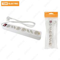 Удлинитель бытовой У044В, выключатель, 4 б/з+4 с/з, 1,5метра, ПВС 3х1,5мм2 16А/250В TDM