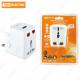 Тревел-адаптер 100-250В 3A (5 в 1) c USB-зарядкой 1000мА белый TDM